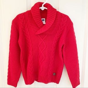 Janie and Jack Boys Red Cable Sweater size 4 NWT